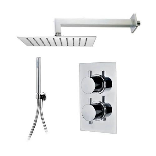 Abacus Essentials Thermostatic Concealed Shower Kit With Square Shower Head And Handset - Chrome